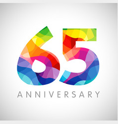 65 anniversary colorful facet logo vector