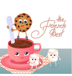 a marshmallow a cookie and a coffee cup vector image
