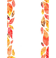 Abstract autumn leaves watercolor frame background vector