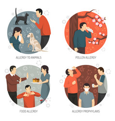 allergic design icon set vector image