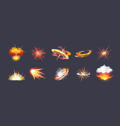animation for game comic explosion effect frames vector image