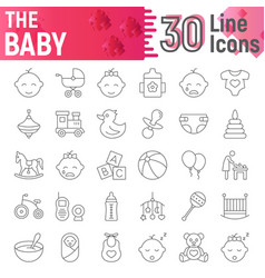 baby thin line icon set child symbols collection vector image