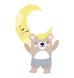 Bashower cute bear with short pants half moon vector