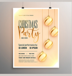 beautiful merry christmas party flyer template vector image