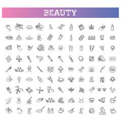 Beauty outline icons set beauty treatment vector