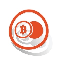 Bitcoin coin sign sticker orange vector