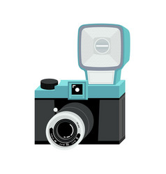 blue and black analog film camera with big flash vector image