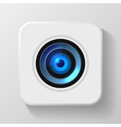 Blue Camera Lens Icon on White vector image