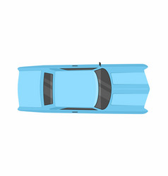Blue retro car top view vector