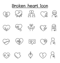 broken heart heartbreak icon set in thin line vector image