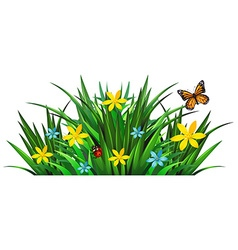Bush with flowers and insects vector