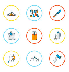 Camping icons colored line set with mountains vector