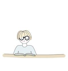 Cartoon character reading a book vector