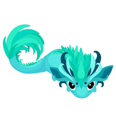 Cartoon dragon in turquoise color vector