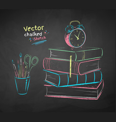 chalked alarm clock and books vector image