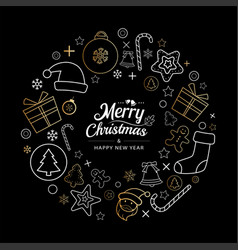 christmas icons wreath circle in dark background vector image