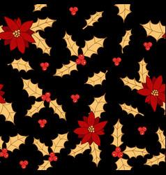 christmas seamless pattern with holly and vector image
