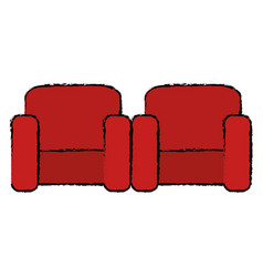cinema chairs isolated icon vector image