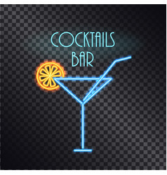 Coktails bar neon poster color vector
