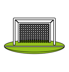 color silhouette with football goal vector image