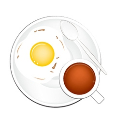 Cup of Coffee with Breakfast Fried Egg vector