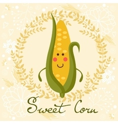 Cute sweet corn character vector