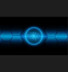 Cyber brain technology background on blue circuit vector