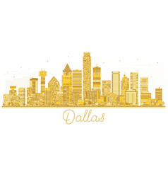 Dallas usa city skyline golden silhouette vector