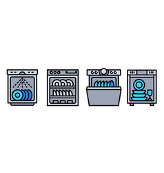 Dishwasher icons set outline style vector