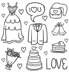 doodle of wedding object vector image