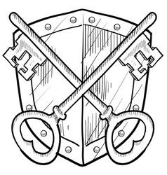Doodle shield keys safe secure vector
