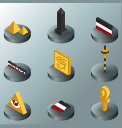 egypt color isometric icons vector image
