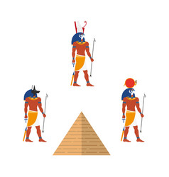 egypt pyramid and ancient gods - ra anubis isis vector image