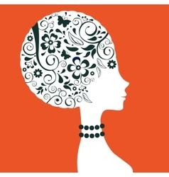 Elegant woman floral silhouette vector