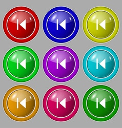 fast backward icon sign symbol on nine round vector image