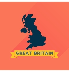 Flat icon with long shadow map of Great Britain vector