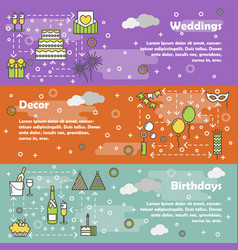 flat line art celebration banner set vector image