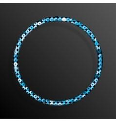 Frame Blue Sequins Circle Glitter sparkle vector