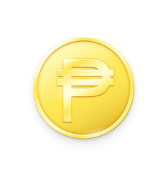 Gold coin with peso sign vector