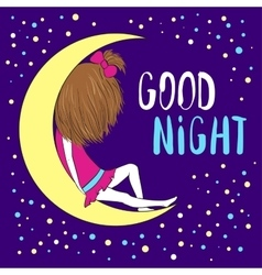 Good night greeting card vector image