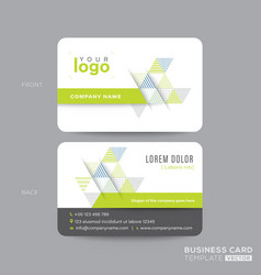 green business card design with abstract triangle vector image