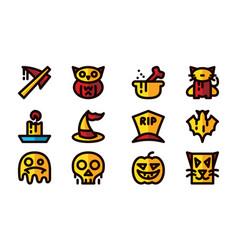 halloween celebration icon set template vector image