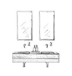 Hand drawn bathroom interior vector