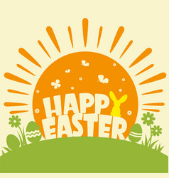 happy easter background with text and sun vector image