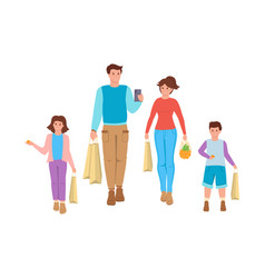 Happy family goes shopping flat cartoon vector