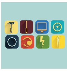 Industrycomputer and development icons set vector