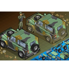 Isometric military jeep with soldier in rear view vector