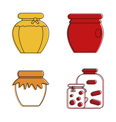jar icon set color outline style vector image