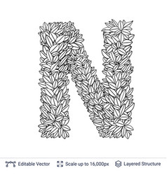 Letter n symbol of white leaves vector