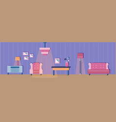 living room and its furniture vector image